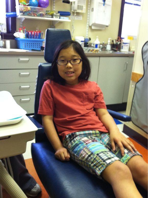 At the dentist -- no cavities!